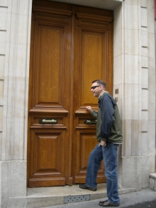 the main doors into our building, on rue Lacepede