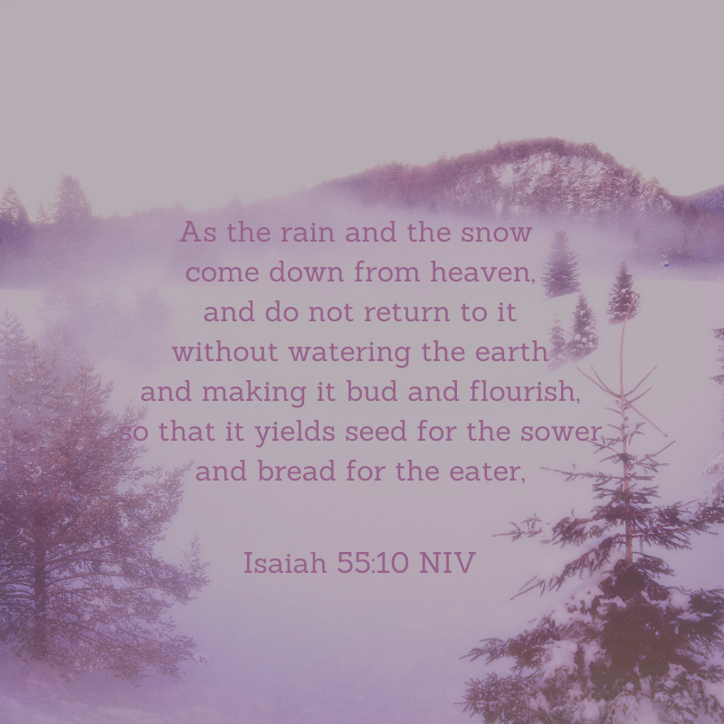 As the rain and the snow come down from heaven, and do not return to it without watering the earth and making it bud and flourish, so that it yields seed for the sower and bread for the eater, Isaiah 55_10 NIV